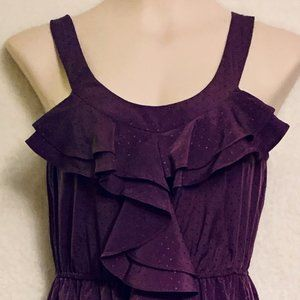 ELLE purple dotted ruffled dress size XS
